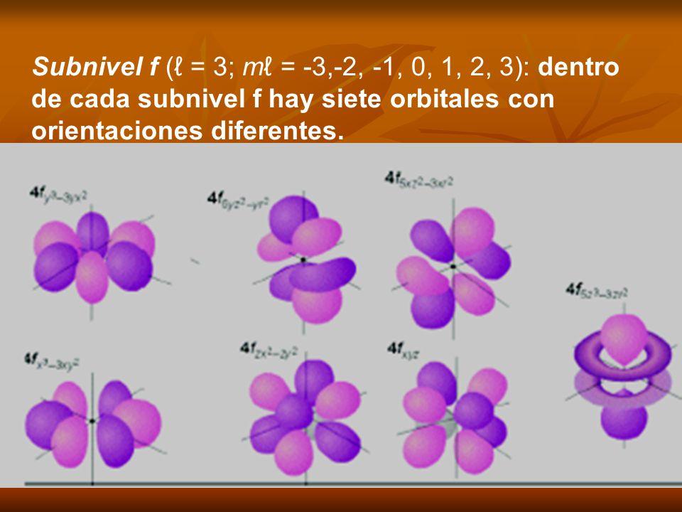 Subnivel f (ℓ = 3; mℓ = -3,-2, -1, 0, 1, 2, 3): dentro de cada subnivel f hay siete orbitales con orientaciones diferentes.