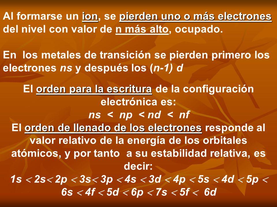 El orden para la escritura de la configuración electrónica es: