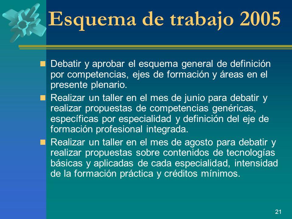 Esquema de trabajo 2005 Debatir y aprobar el esquema general de definición por competencias, ejes de formación y áreas en el presente plenario.