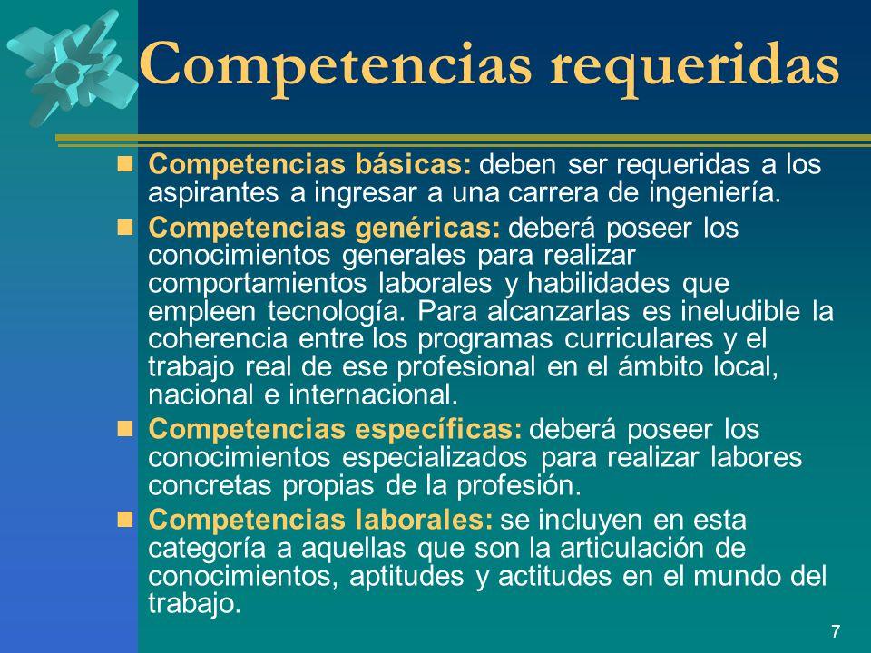 Competencias requeridas