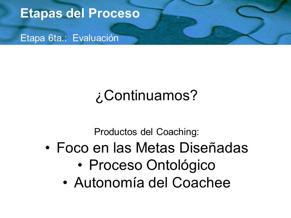 Foco en las Metas Diseñadas Proceso Ontológico Autonomía del Coachee