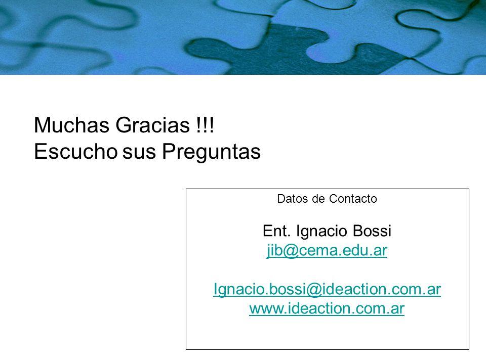 Muchas Gracias !!! Escucho sus Preguntas Ent. Ignacio Bossi