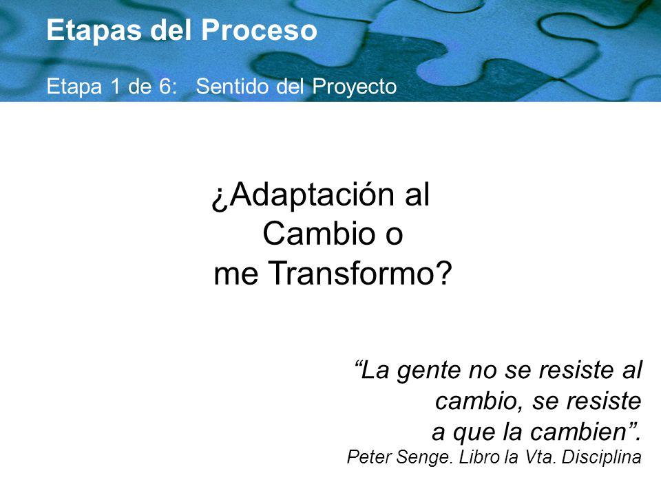 ¿Adaptación al Cambio o me Transformo
