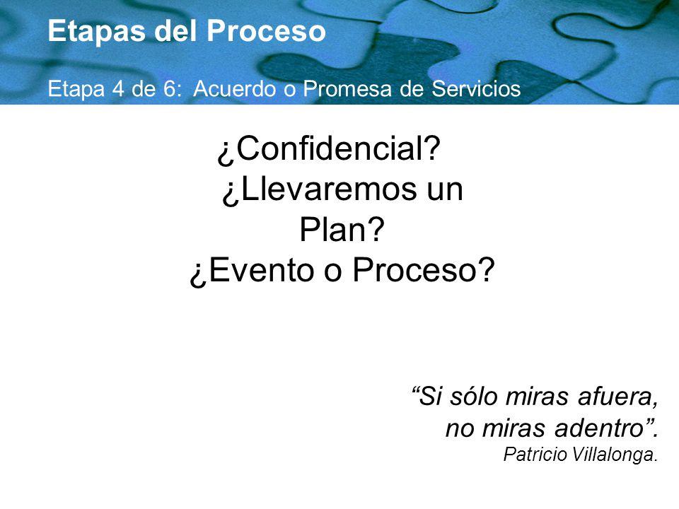 ¿Confidencial ¿Llevaremos un Plan ¿Evento o Proceso