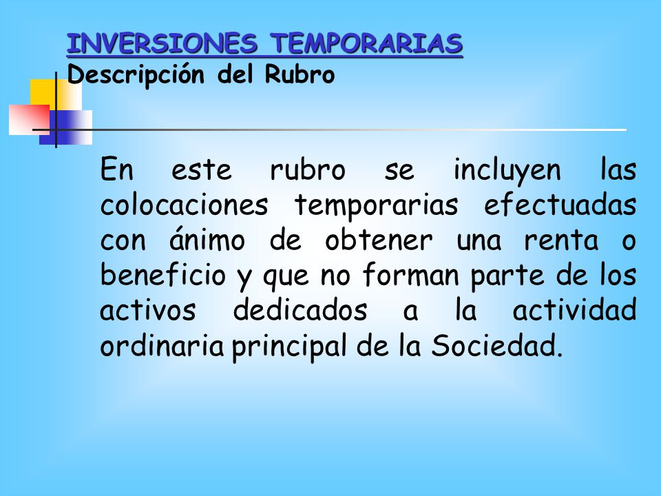 INVERSIONES TEMPORARIAS