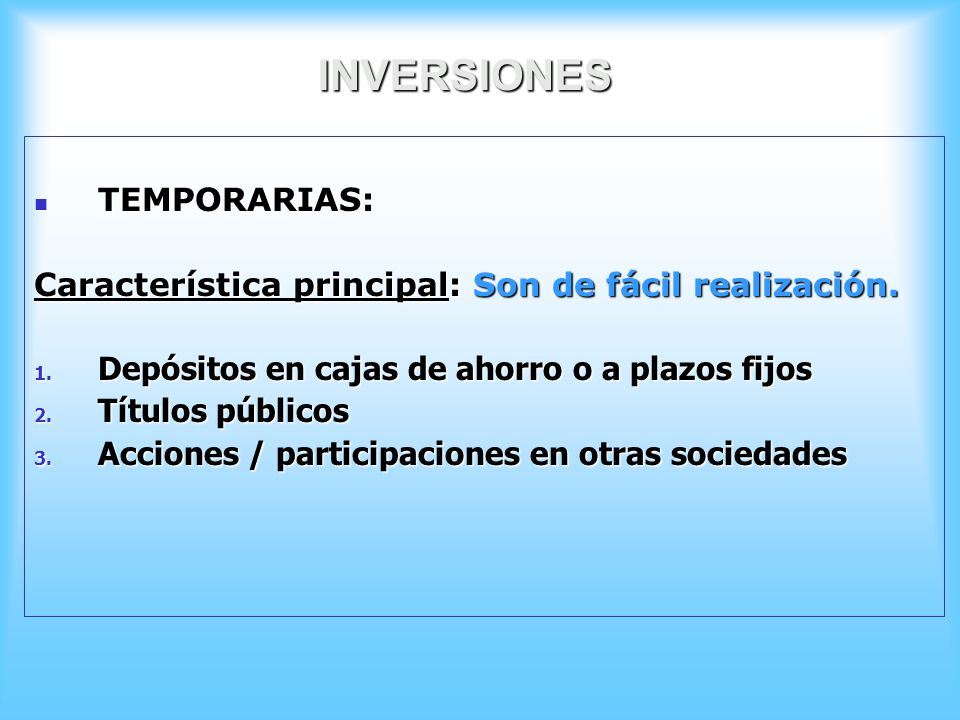 INVERSIONES TEMPORARIAS: