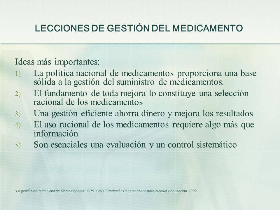 LECCIONES DE GESTIÓN DEL MEDICAMENTO