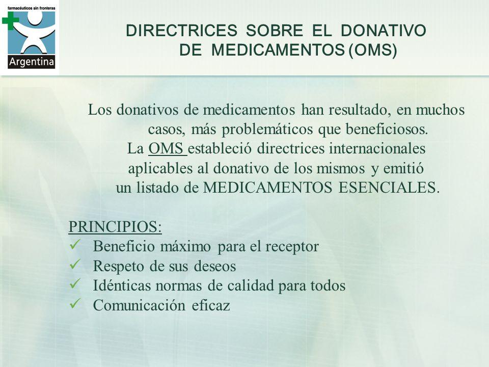 DIRECTRICES SOBRE EL DONATIVO DE MEDICAMENTOS (OMS)