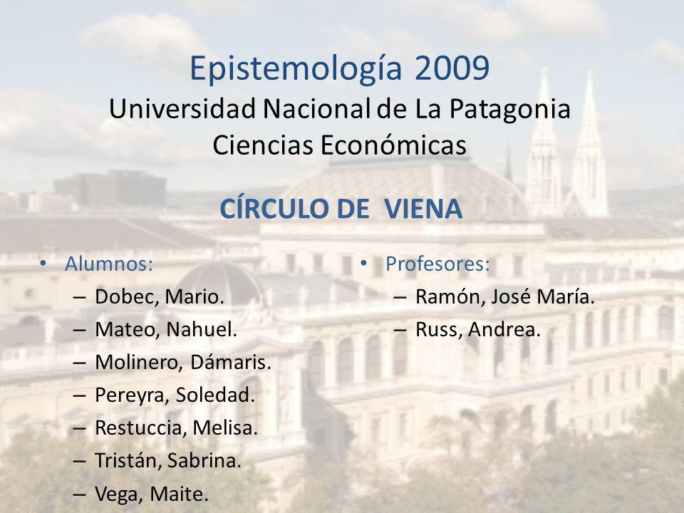 Epistemología 2009 Universidad Nacional de La Patagonia Ciencias Económicas
