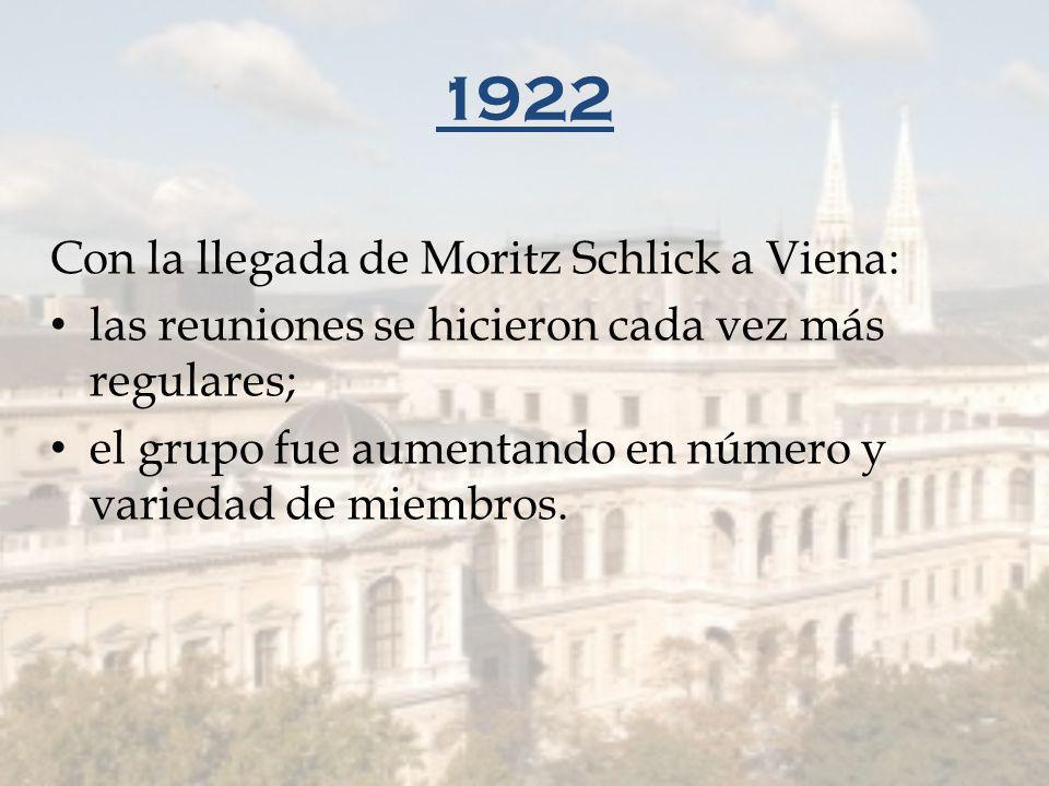 1922 Con la llegada de Moritz Schlick a Viena: