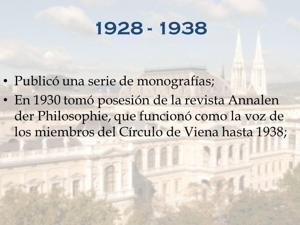 1928 - 1938 Publicó una serie de monografías;