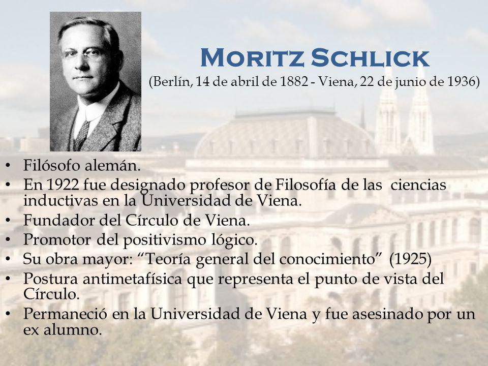 Moritz Schlick (Berlín, 14 de abril de 1882 - Viena, 22 de junio de 1936)