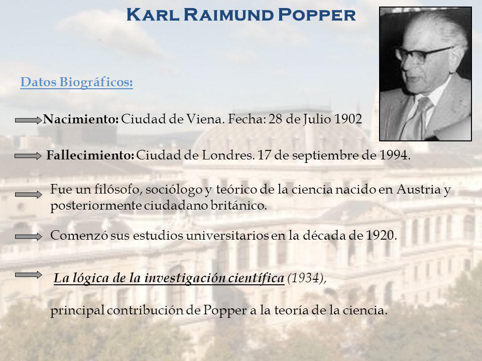 Karl Raimund Popper Datos Biográficos: