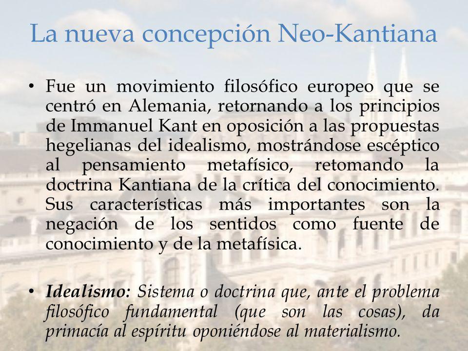 La nueva concepción Neo-Kantiana