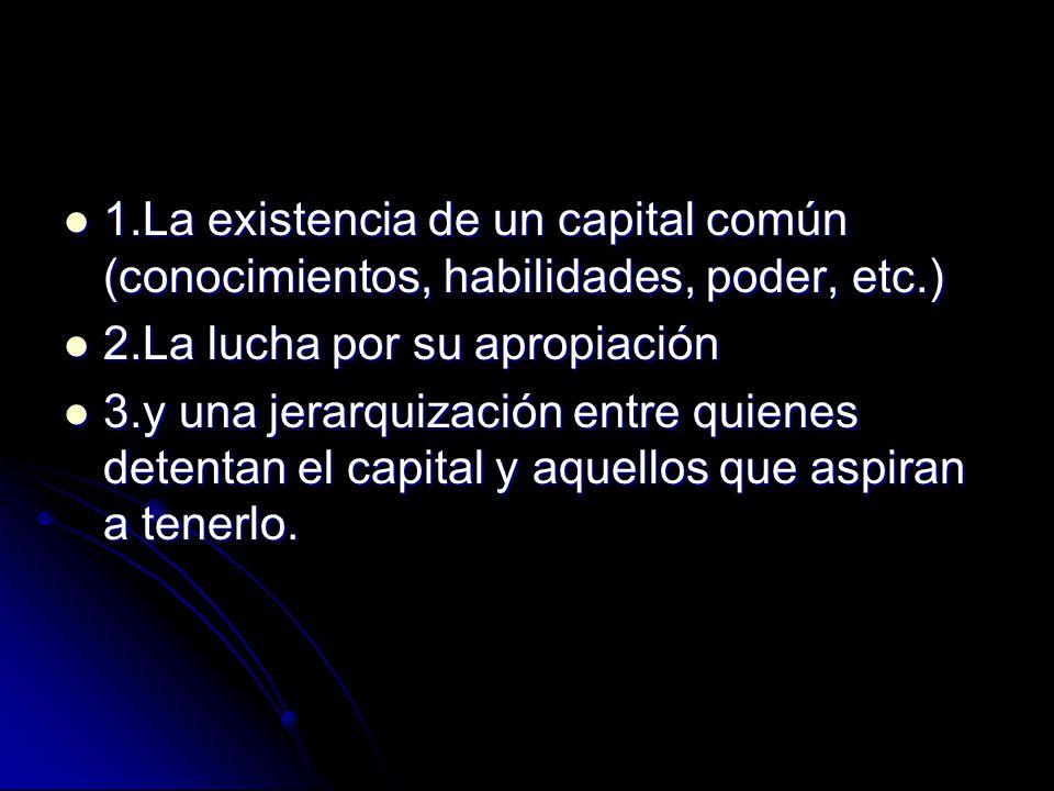 1.La existencia de un capital común (conocimientos, habilidades, poder, etc.)