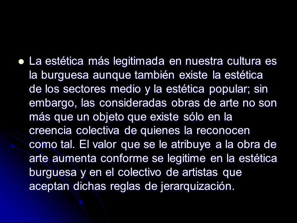 La estética más legitimada en nuestra cultura es la burguesa aunque también existe la estética de los sectores medio y la estética popular; sin embargo, las consideradas obras de arte no son más que un objeto que existe sólo en la creencia colectiva de quienes la reconocen como tal.