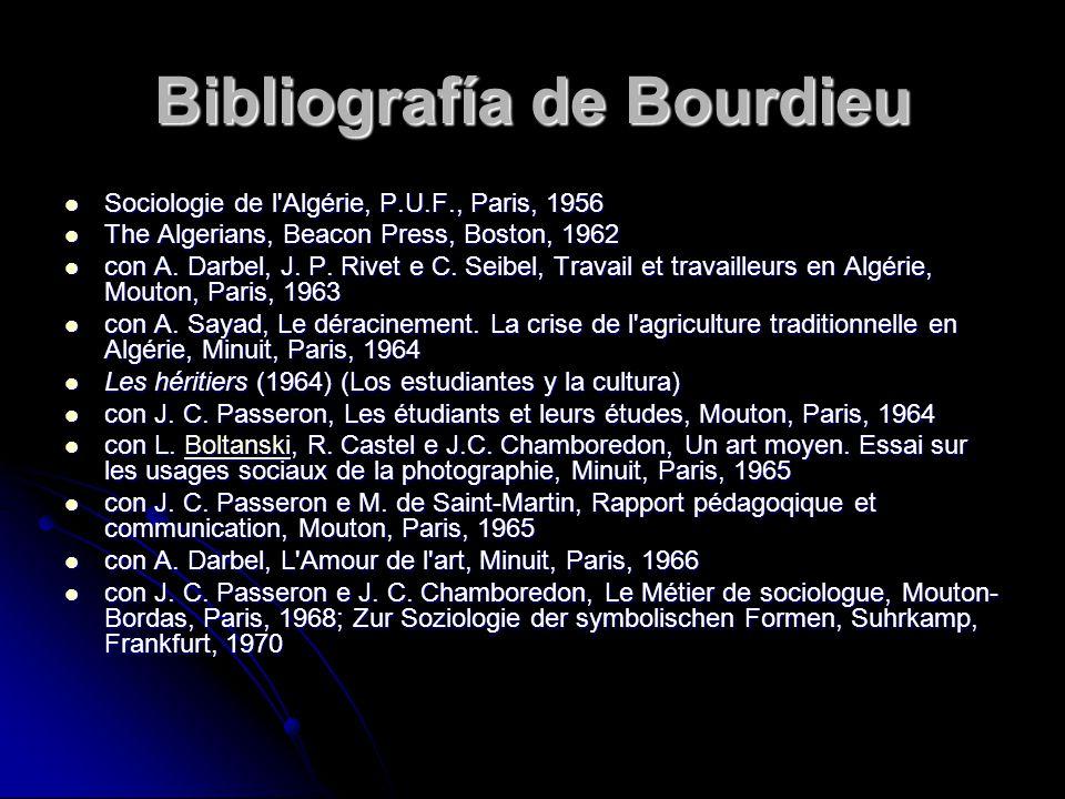 Bibliografía de Bourdieu