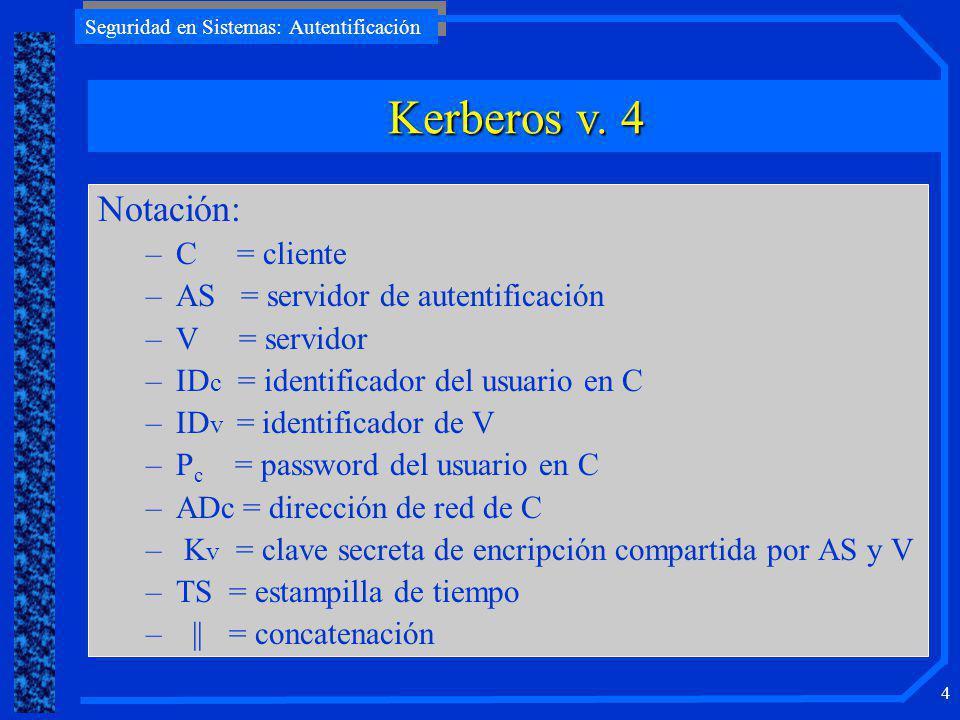 Kerberos v. 4 Notación: C = cliente AS = servidor de autentificación