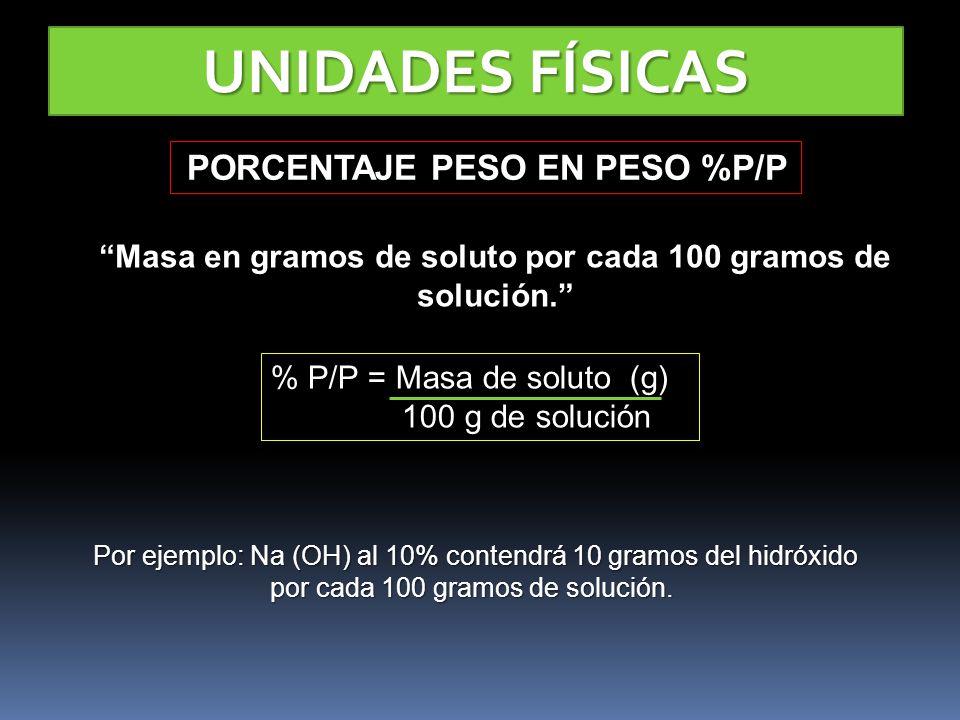 Masa en gramos de soluto por cada 100 gramos de solución.