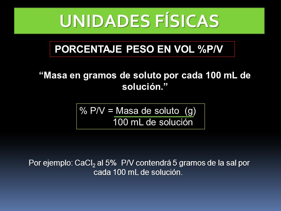 Masa en gramos de soluto por cada 100 mL de solución.
