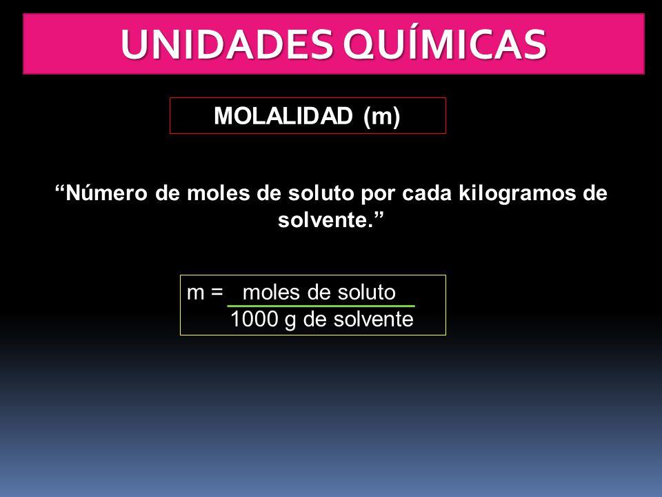 Número de moles de soluto por cada kilogramos de solvente.
