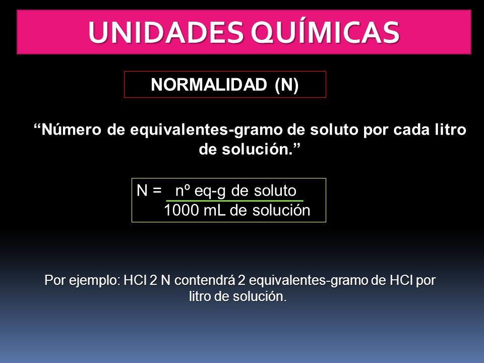 Número de equivalentes-gramo de soluto por cada litro de solución.