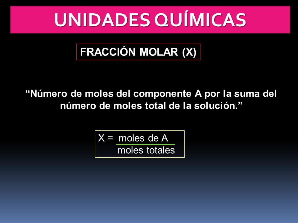 UNIDADES QUÍMICAS FRACCIÓN MOLAR (X)
