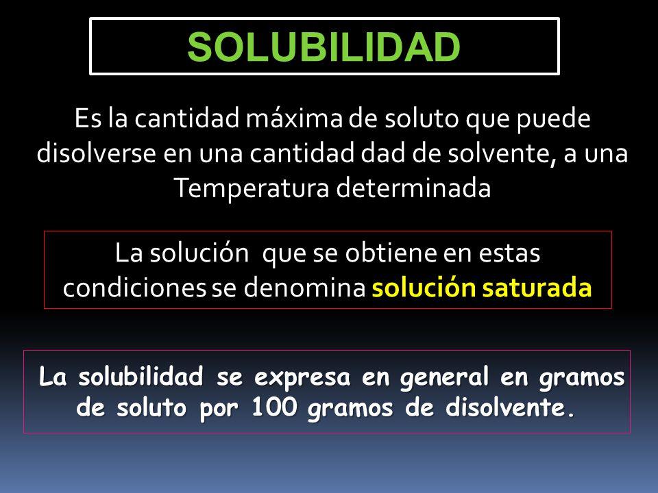 SOLUBILIDAD Es la cantidad máxima de soluto que puede disolverse en una cantidad dad de solvente, a una Temperatura determinada.