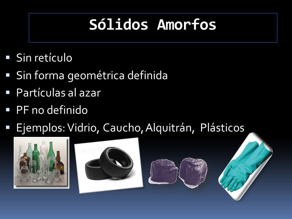 Sólidos Amorfos Sin retículo Sin forma geométrica definida