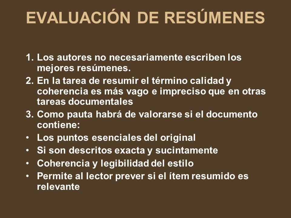 EVALUACIÓN DE RESÚMENES
