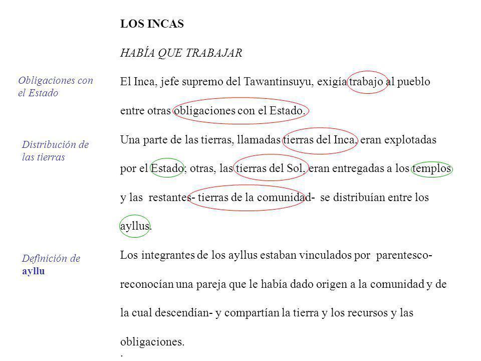 El Inca, jefe supremo del Tawantinsuyu, exigía trabajo al pueblo