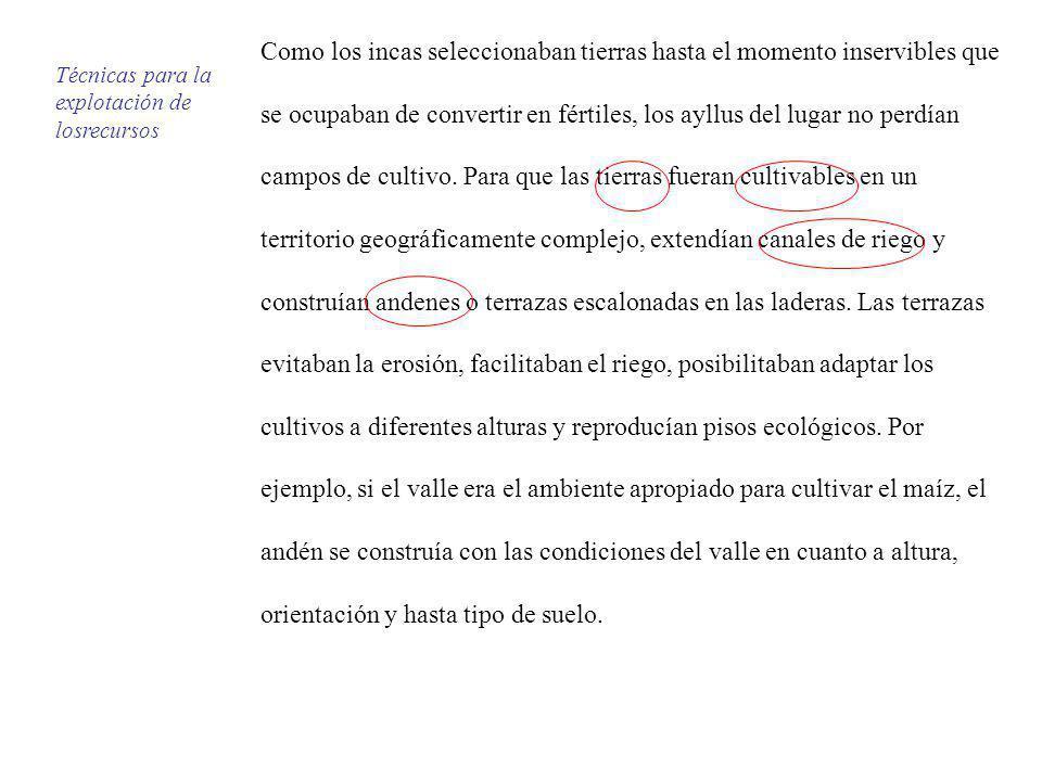 Como los incas seleccionaban tierras hasta el momento inservibles que