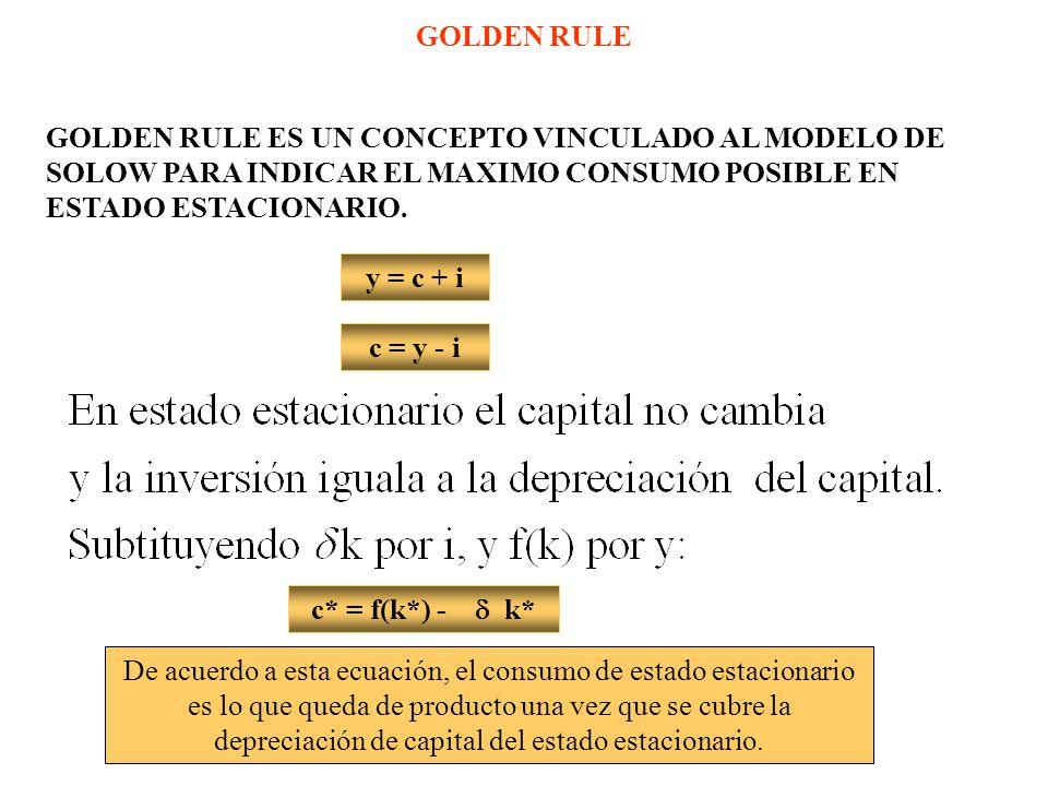 GOLDEN RULE GOLDEN RULE ES UN CONCEPTO VINCULADO AL MODELO DE SOLOW PARA INDICAR EL MAXIMO CONSUMO POSIBLE EN ESTADO ESTACIONARIO.