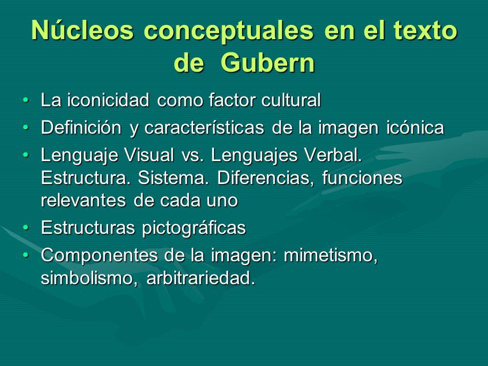 Núcleos conceptuales en el texto de Gubern