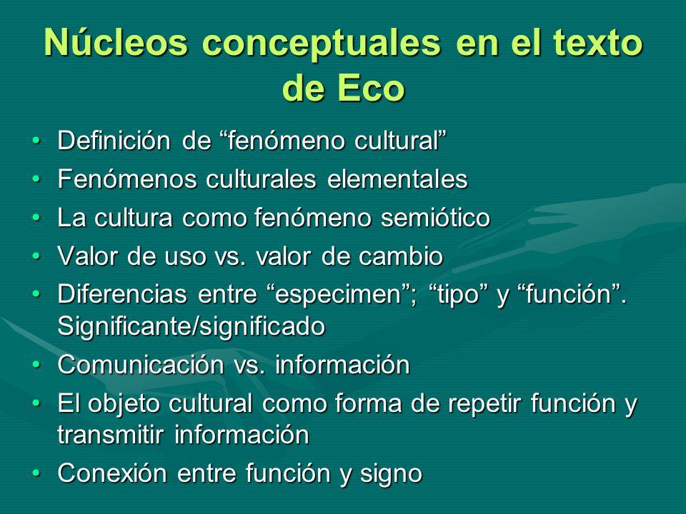 Núcleos conceptuales en el texto de Eco