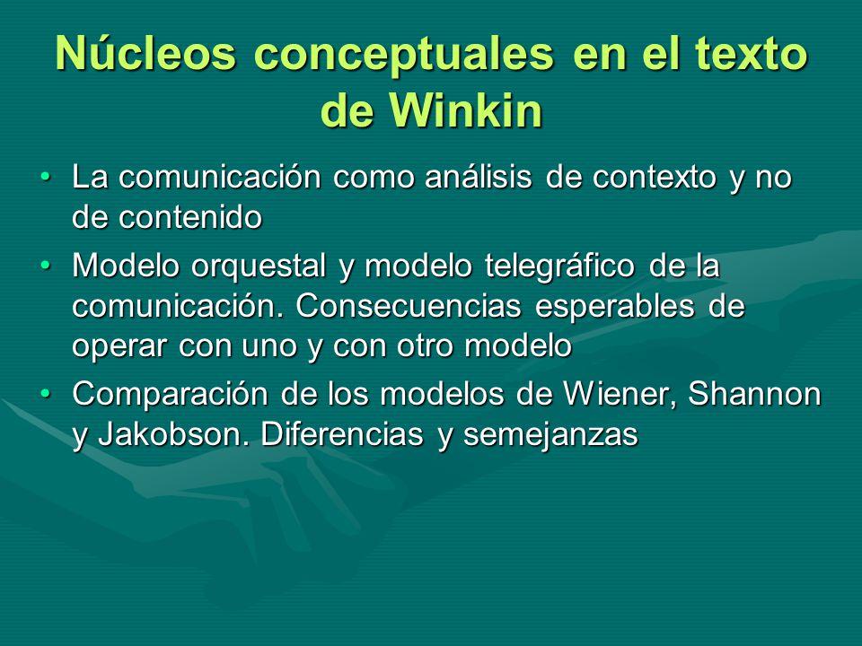 Núcleos conceptuales en el texto de Winkin