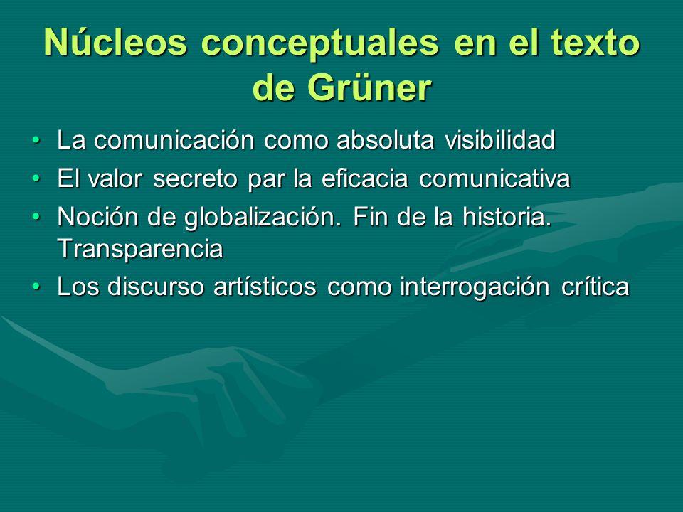 Núcleos conceptuales en el texto de Grüner