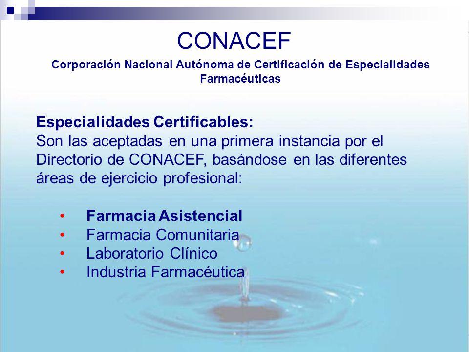 CONACEF Especialidades Certificables:
