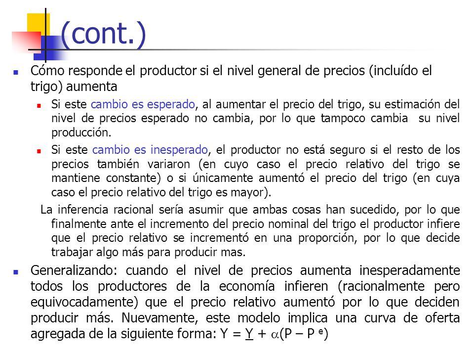 (cont.) Cómo responde el productor si el nivel general de precios (incluído el trigo) aumenta.