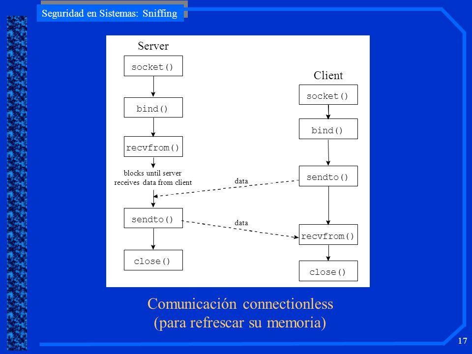 Comunicación connectionless (para refrescar su memoria)