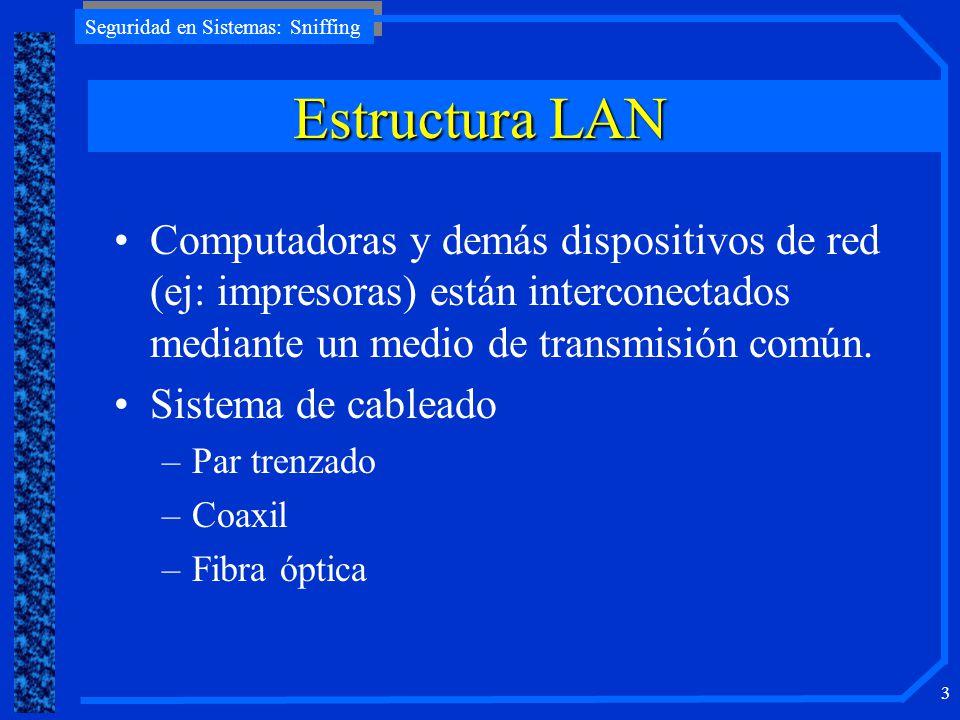 Estructura LAN Computadoras y demás dispositivos de red (ej: impresoras) están interconectados mediante un medio de transmisión común.