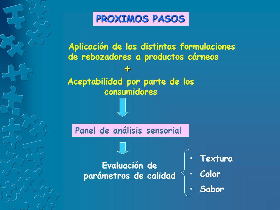 PROXIMOS PASOS Aplicación de las distintas formulaciones de rebozadores a productos cárneos. + Aceptabilidad por parte de los consumidores.