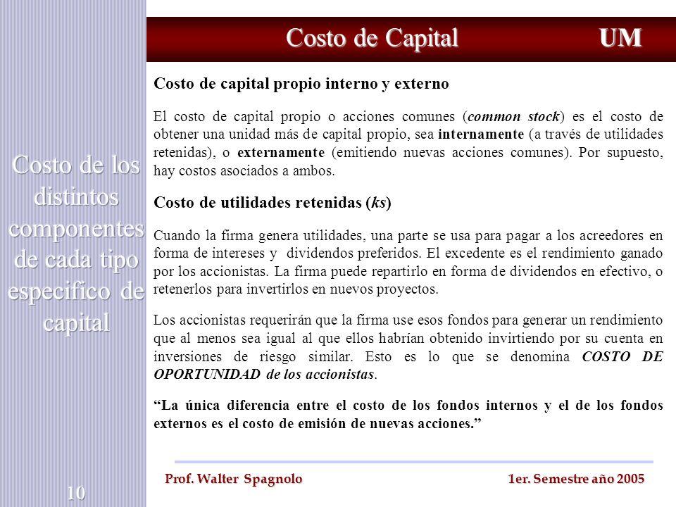 Costo de los distintos componentes de cada tipo especifico de capital