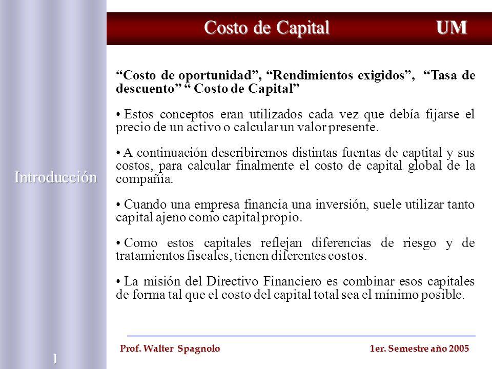 Costo de Capital UM Introducción