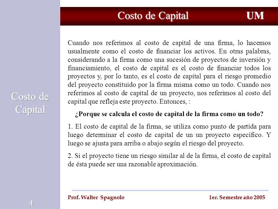 ¿Porque se calcula el costo de capital de la firma como un todo