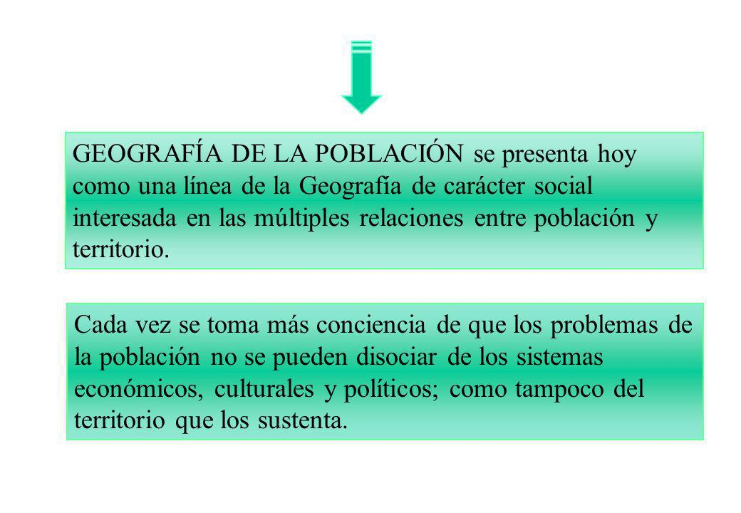 GEOGRAFÍA DE LA POBLACIÓN se presenta hoy como una línea de la Geografía de carácter social interesada en las múltiples relaciones entre población y territorio.
