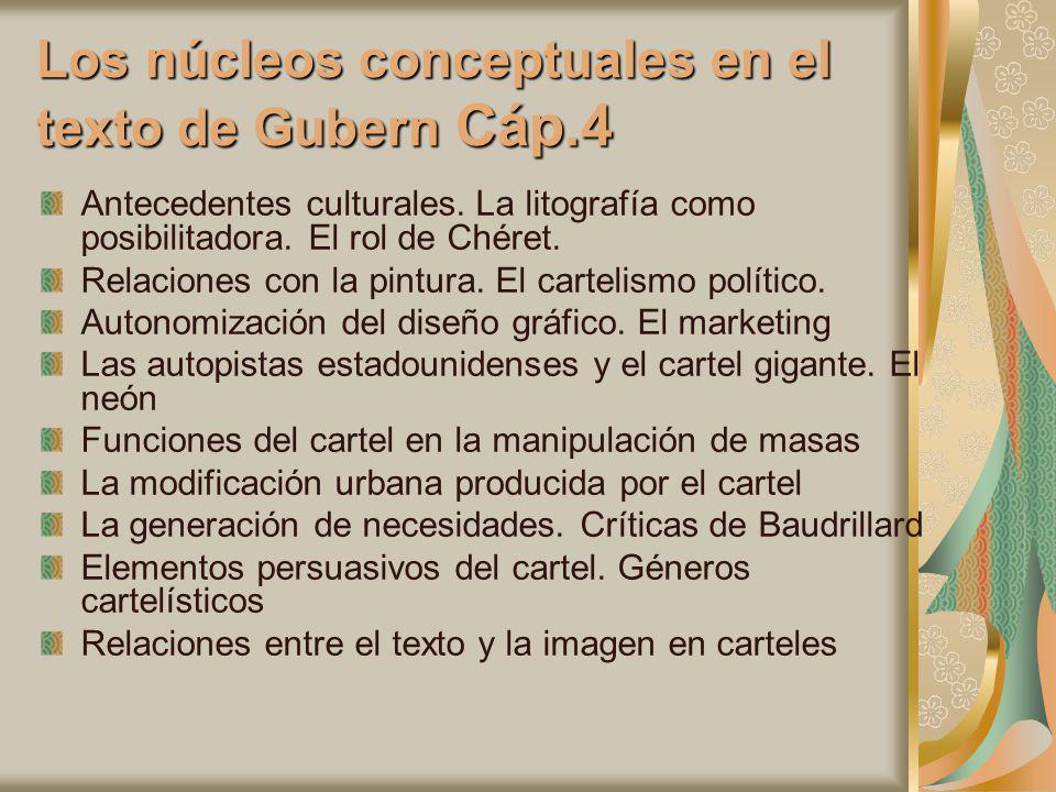 Los núcleos conceptuales en el texto de Gubern Cáp.4