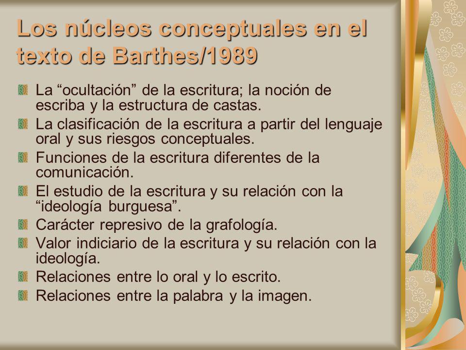 Los núcleos conceptuales en el texto de Barthes/1989