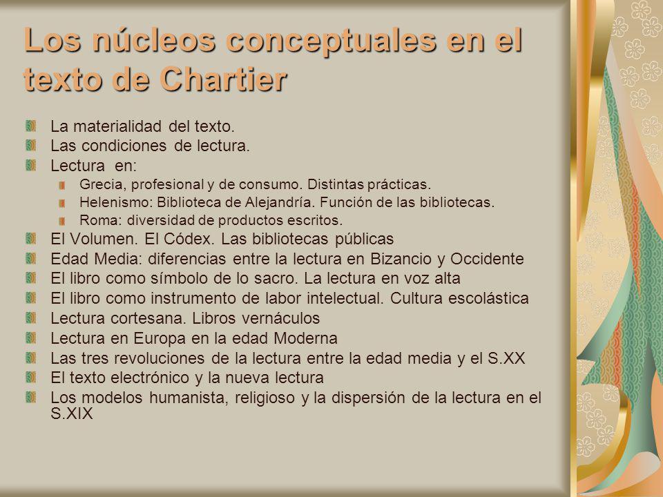 Los núcleos conceptuales en el texto de Chartier
