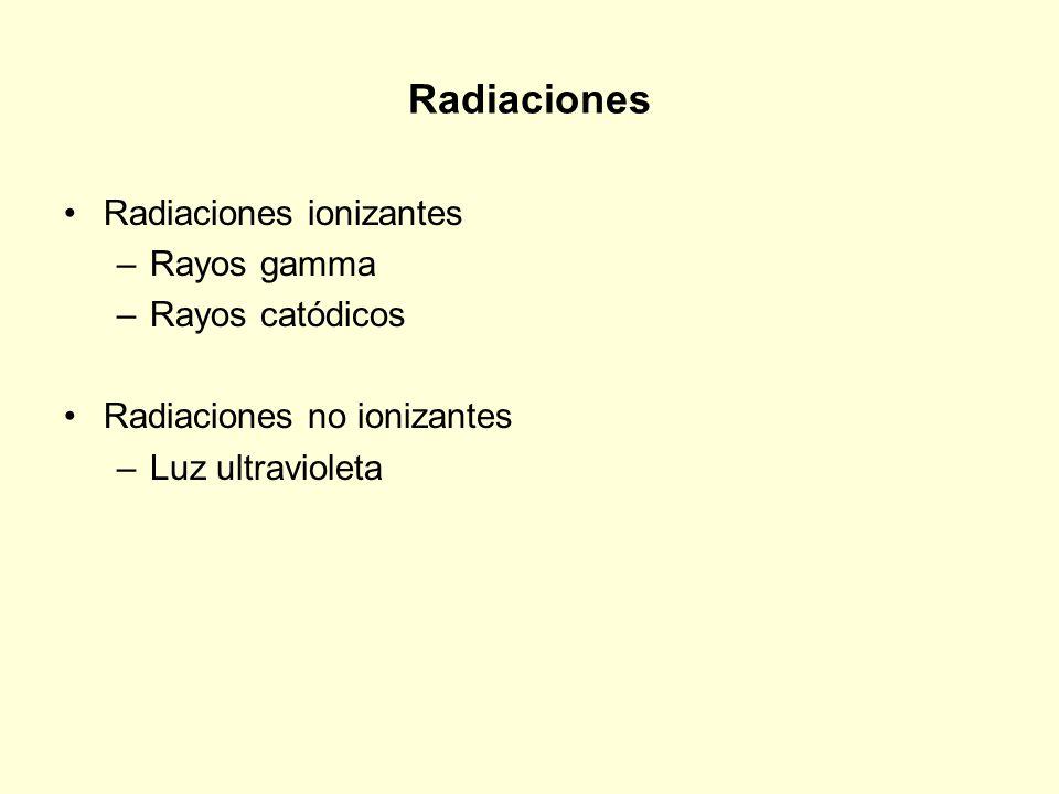 Radiaciones Radiaciones ionizantes Rayos gamma Rayos catódicos